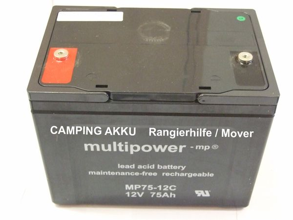 Rangierhilfen Batterie: AGM- Camping AKKU MULTIPOWER 12-75 light